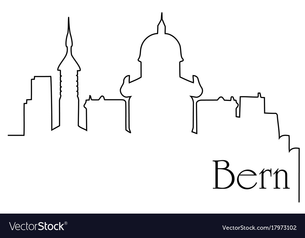 Bern city one line drawing background vector image