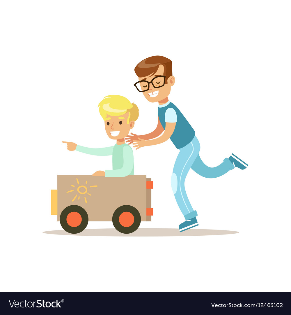 Boy And His Dad Playing Toy Car Traditional Male vector image