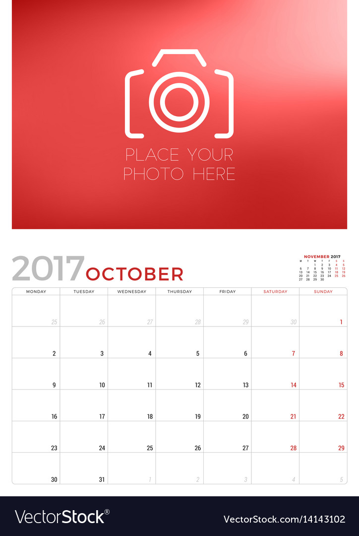 Calendar Planner Vector Free : Wall calendar planner template for october vector image