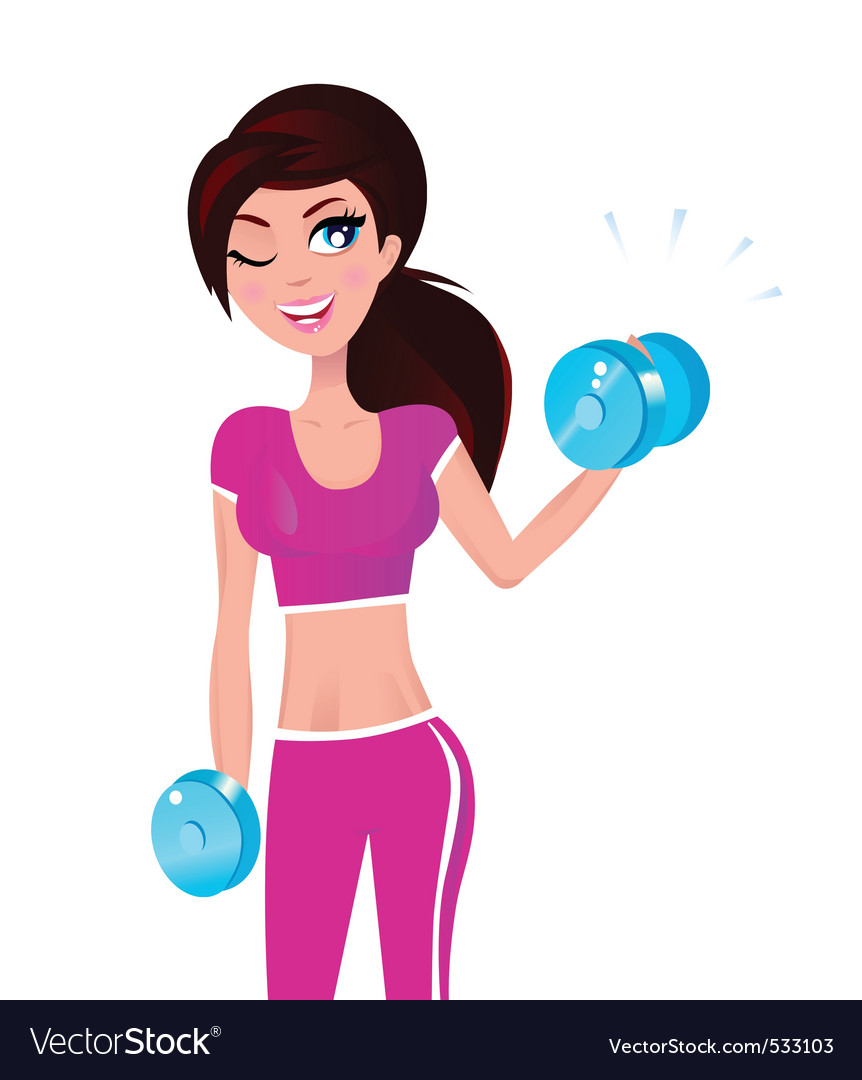 Beautiful fit woman on white vector image