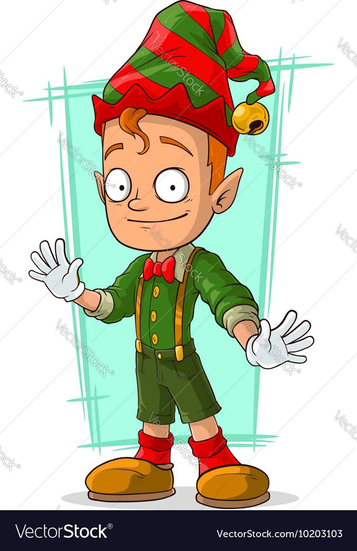 Cartoon redhead Santa elf in green vector image