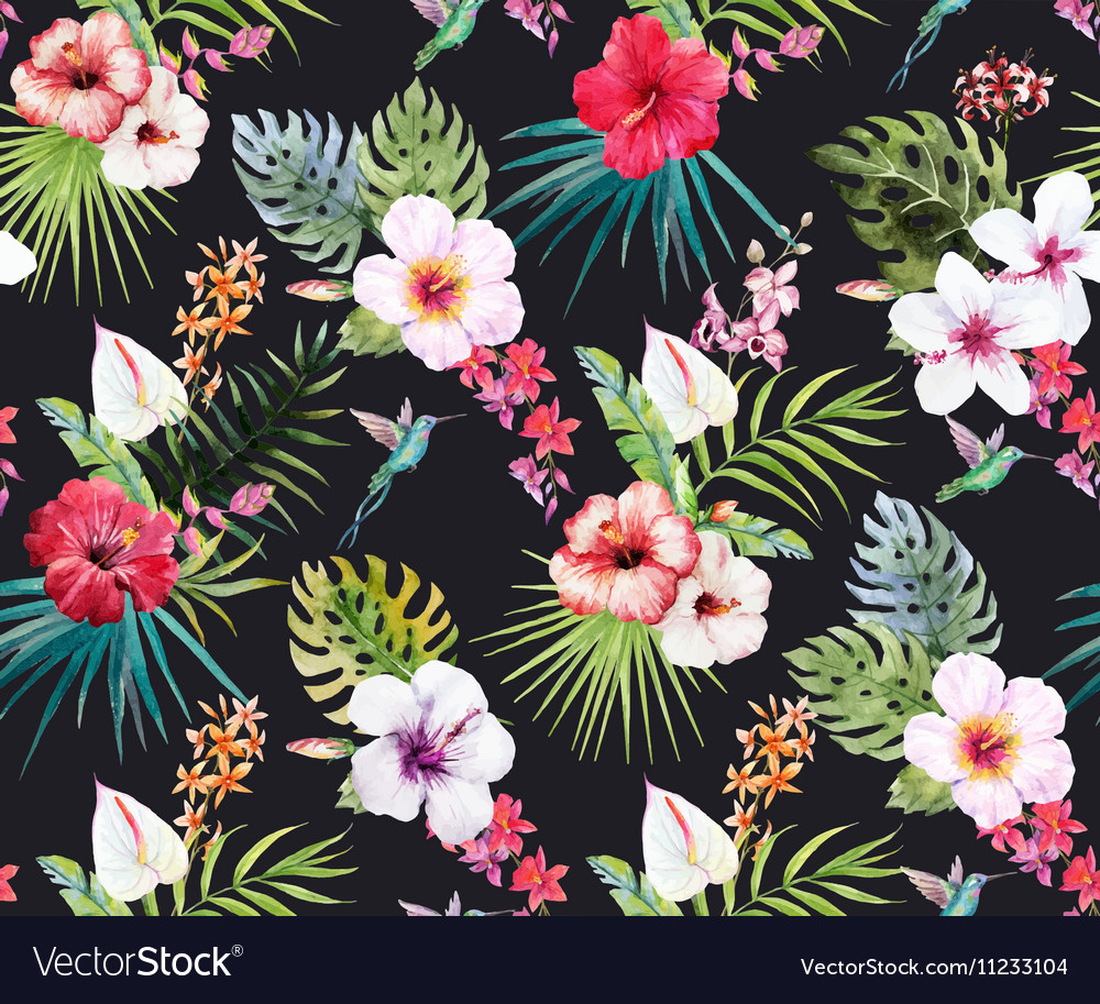 Hibiscus flower patterns flowers healthy watercolor tropical fl pattern vector image izmirmasajfo