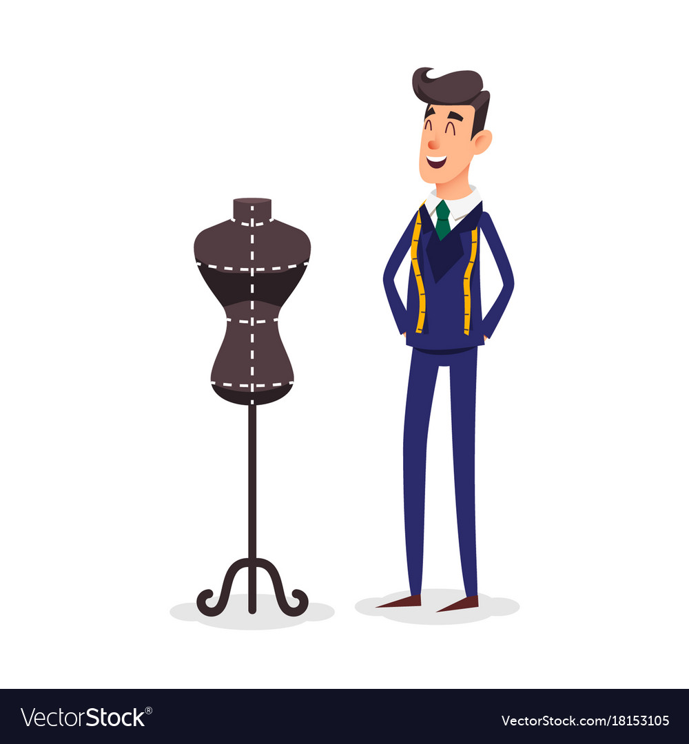 Cartoon happy tailor couture with a centimeter vector image