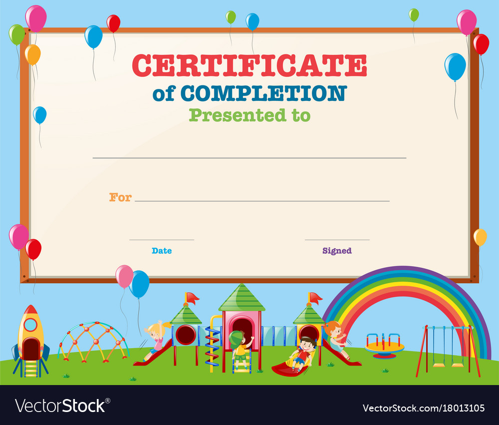 Certificate template with kids at clinical data associate cover certificate template with kids in playground vector image certificate template with kids in playground vector 18013105 alramifo Image collections