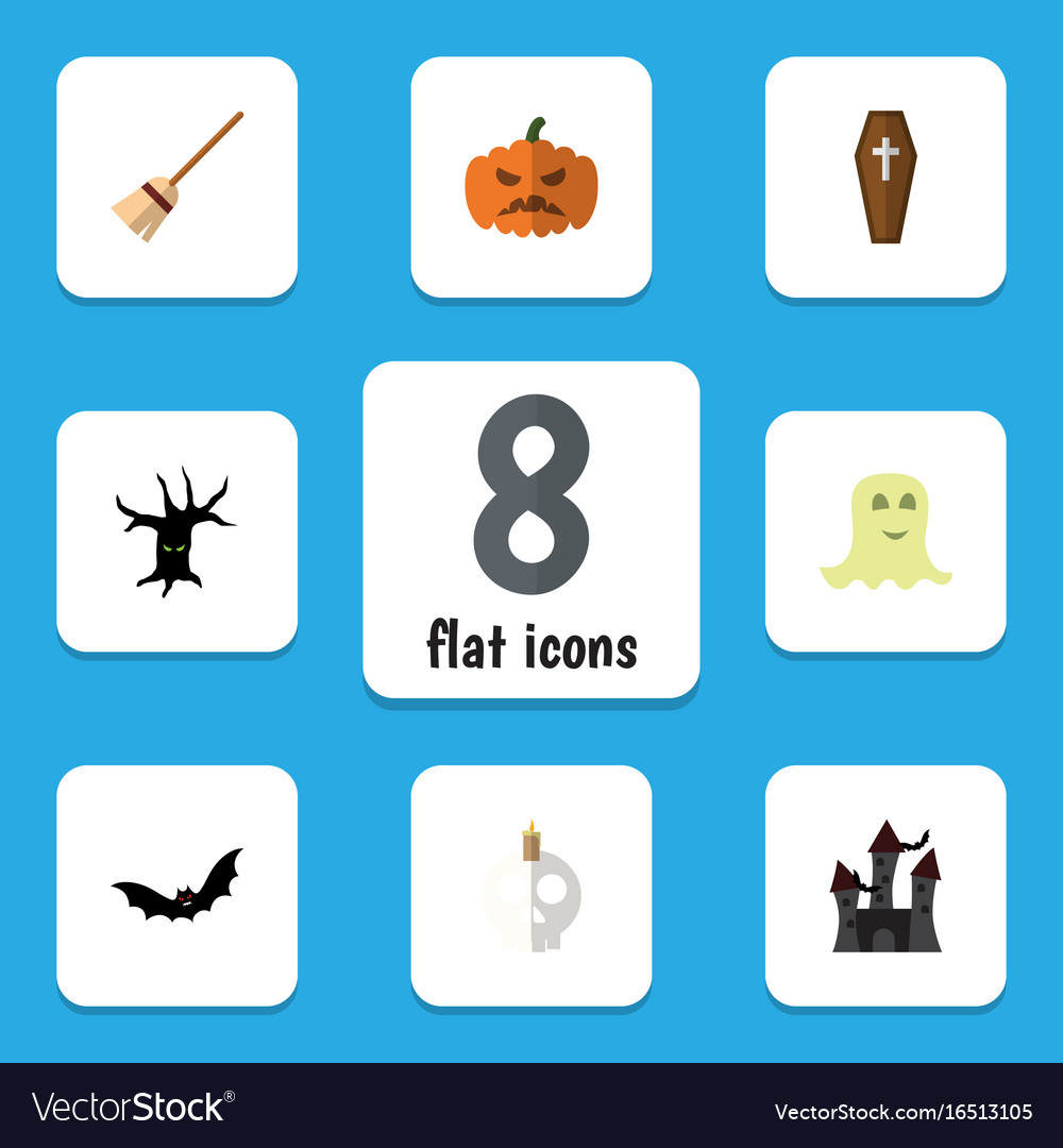 Flat icon halloween set of spirit cranium vector image