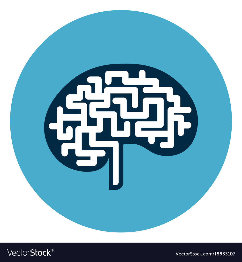 Brain icon web button isolated on blue round vector image biocorpaavc Images