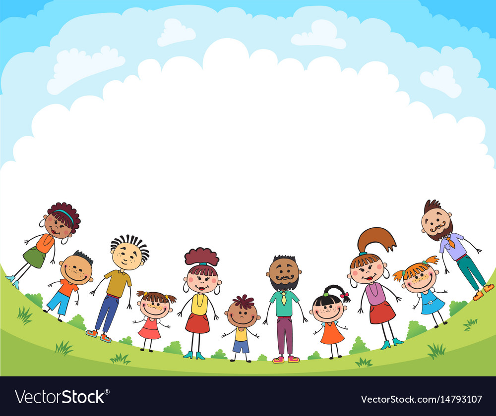 Children are jumping on the glade bunner cartoon vector image