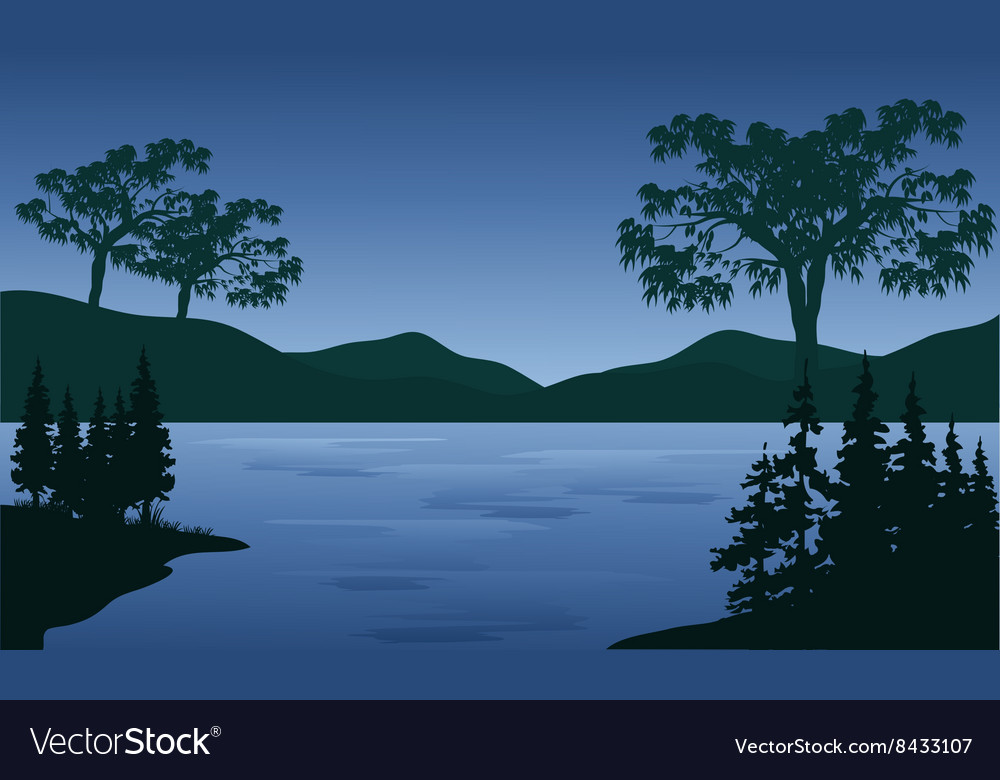 Sunset in mountains near lake vector image