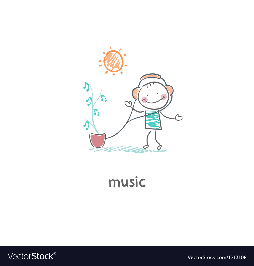 A man listens to music vector image