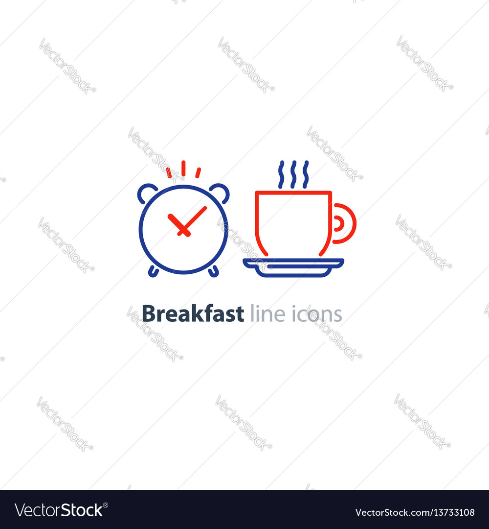 Morning tea cup icon alarm clock breakfast coffee vector image