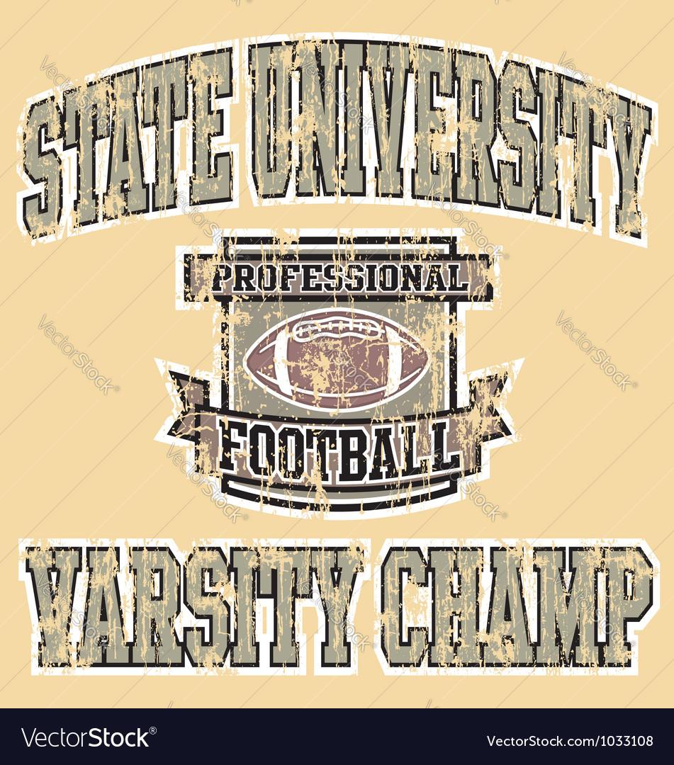 Varsity champ football vector image