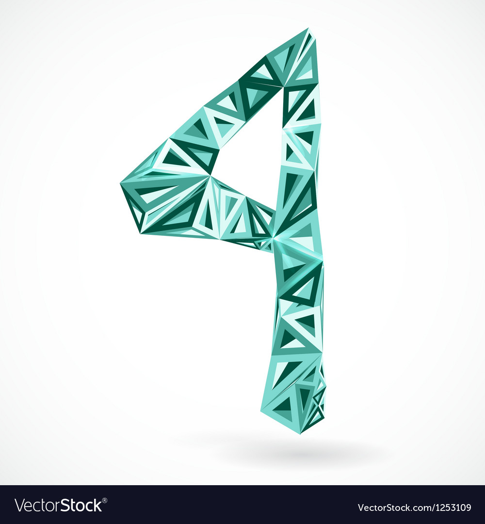 Geometric number four with triangles vector image