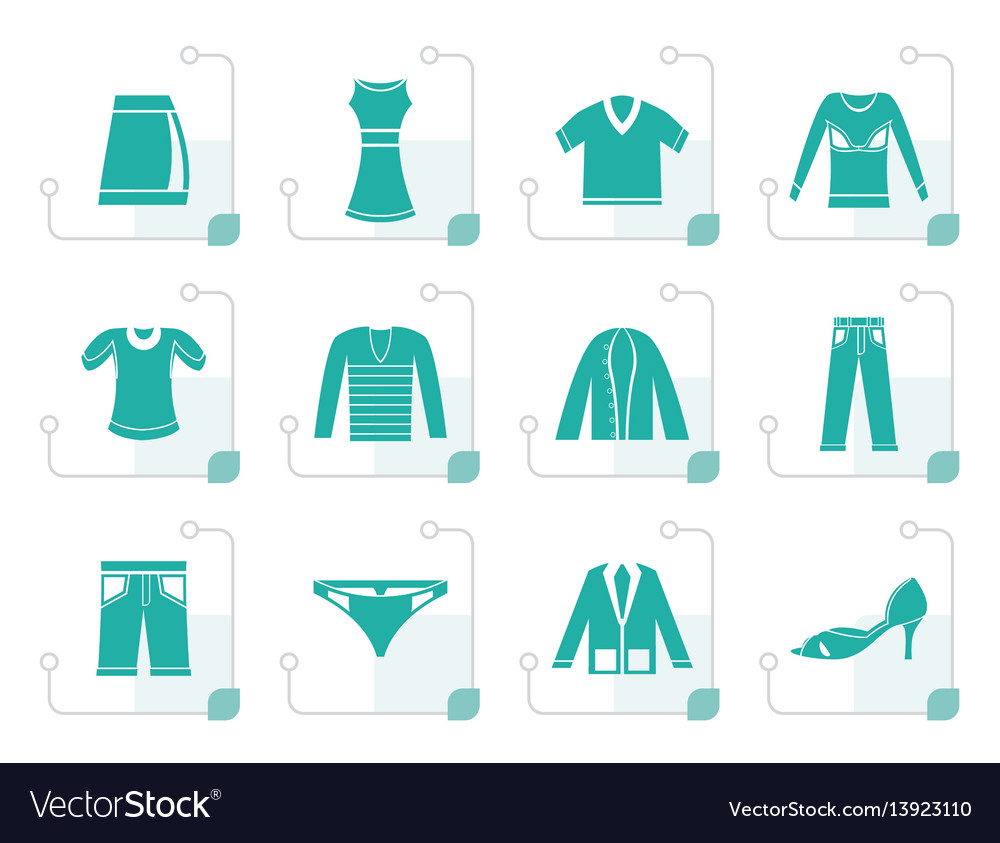Stylized clothing icons vector image