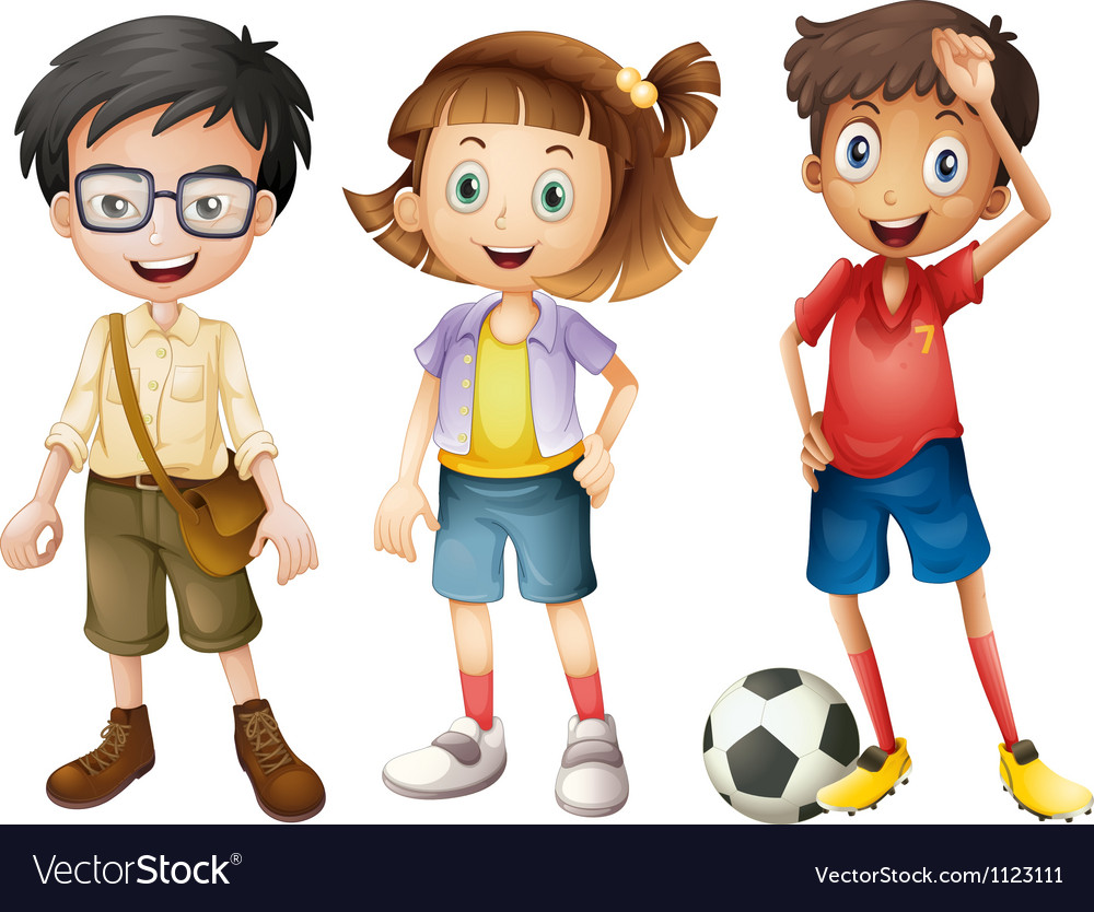 Boys and a girl vector image
