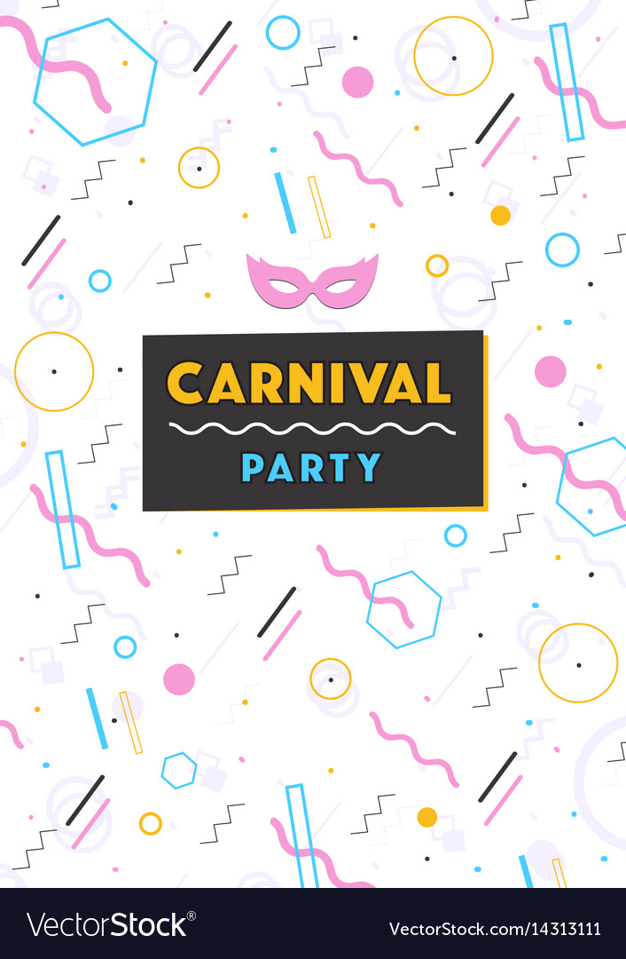 Carnival poster abstract memphis 80s 90s style vector image