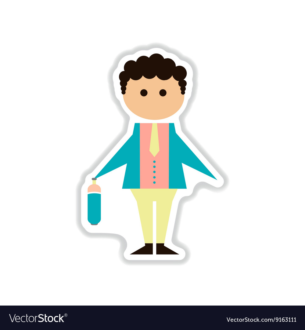 Paper sticker on white background businessman