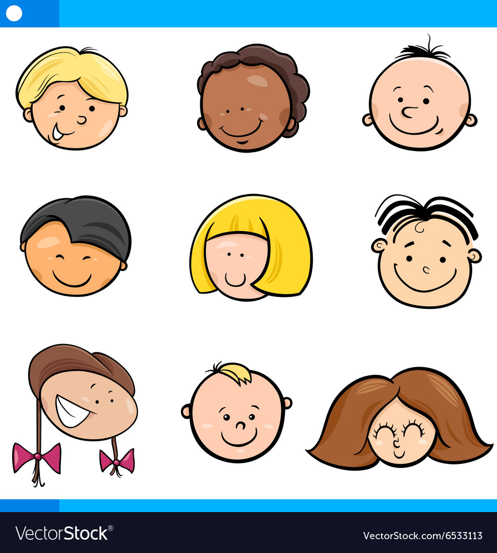 Cartoon boys and girls set vector image