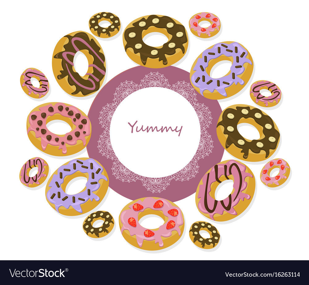 Delicious donuts round card for menu vector image