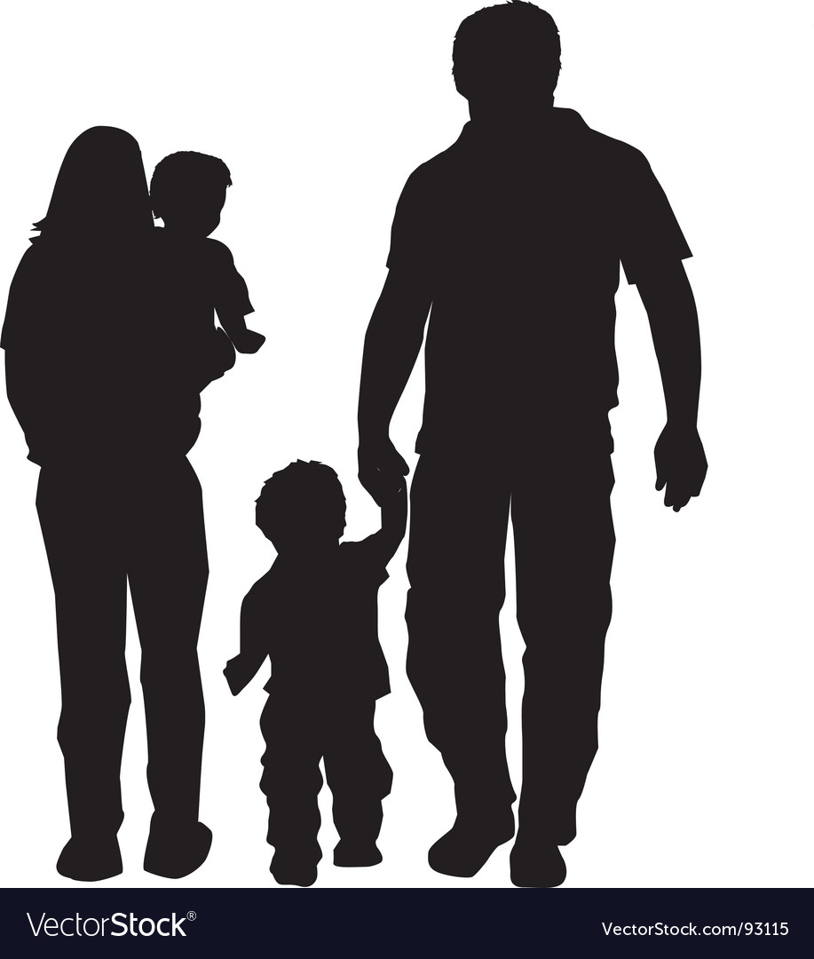 Family silhouette Royalty Free Vector Image - VectorStock