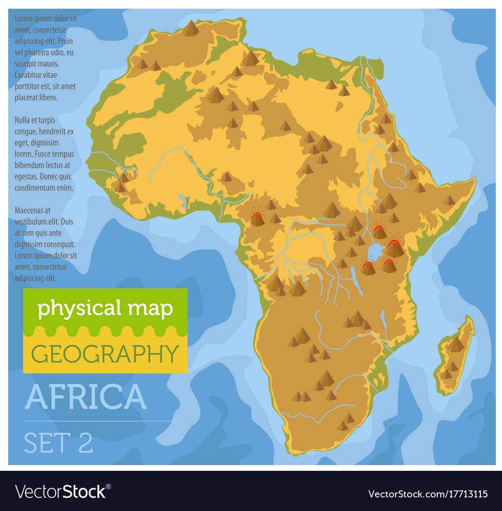 Flat Africa Physical Map Constructor Elements On Vector Image - Map of africa physical