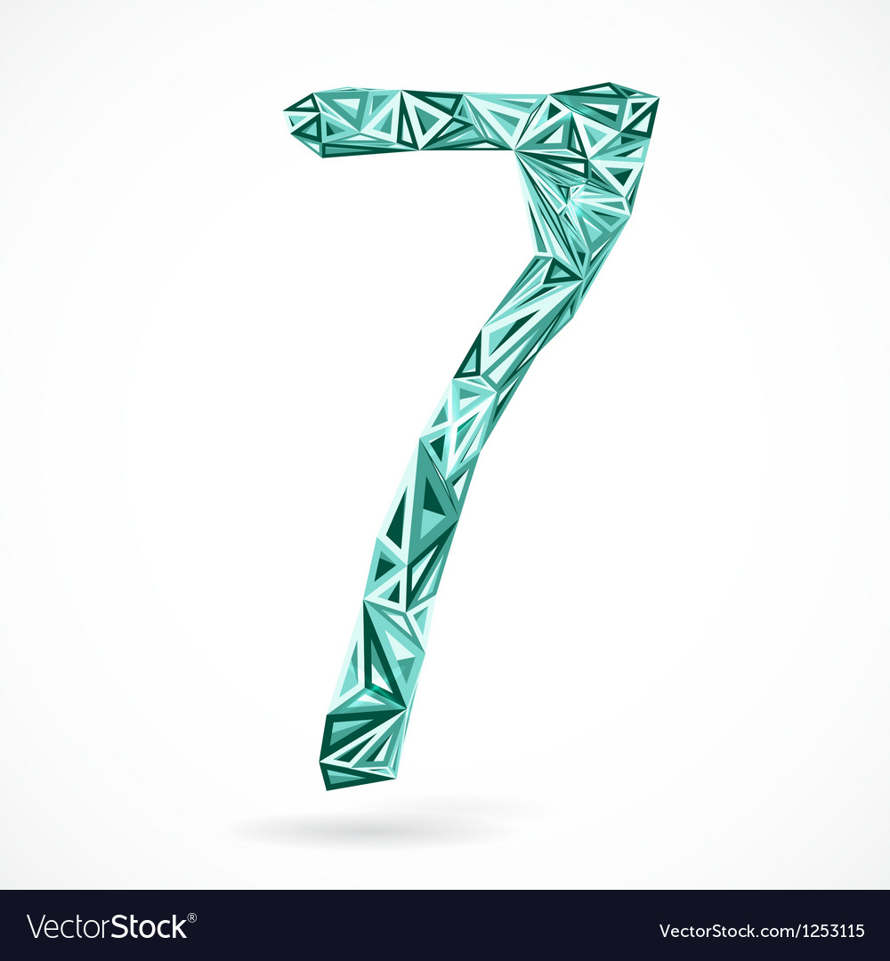 Geometric number seven with triangles vector image
