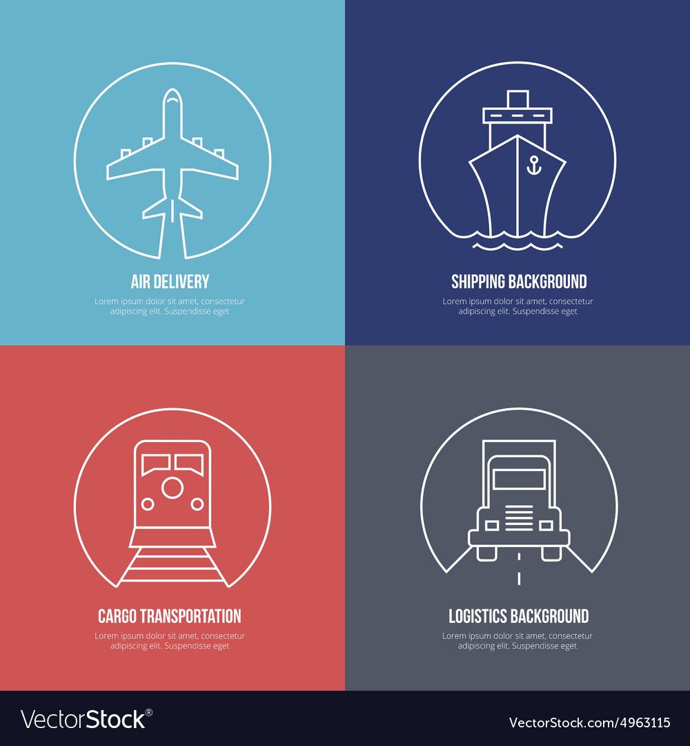 Logistics line icons Airmail cargo transportation vector image