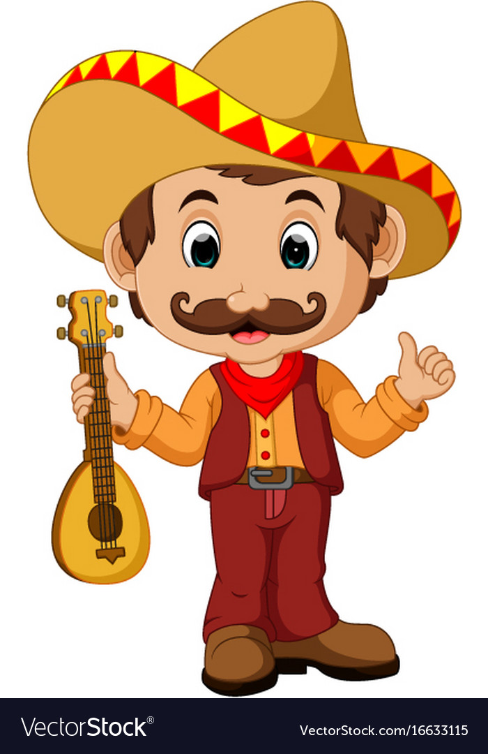 Cartoon Characters Mexican : Mexican cartoon character with guitar royalty free vector