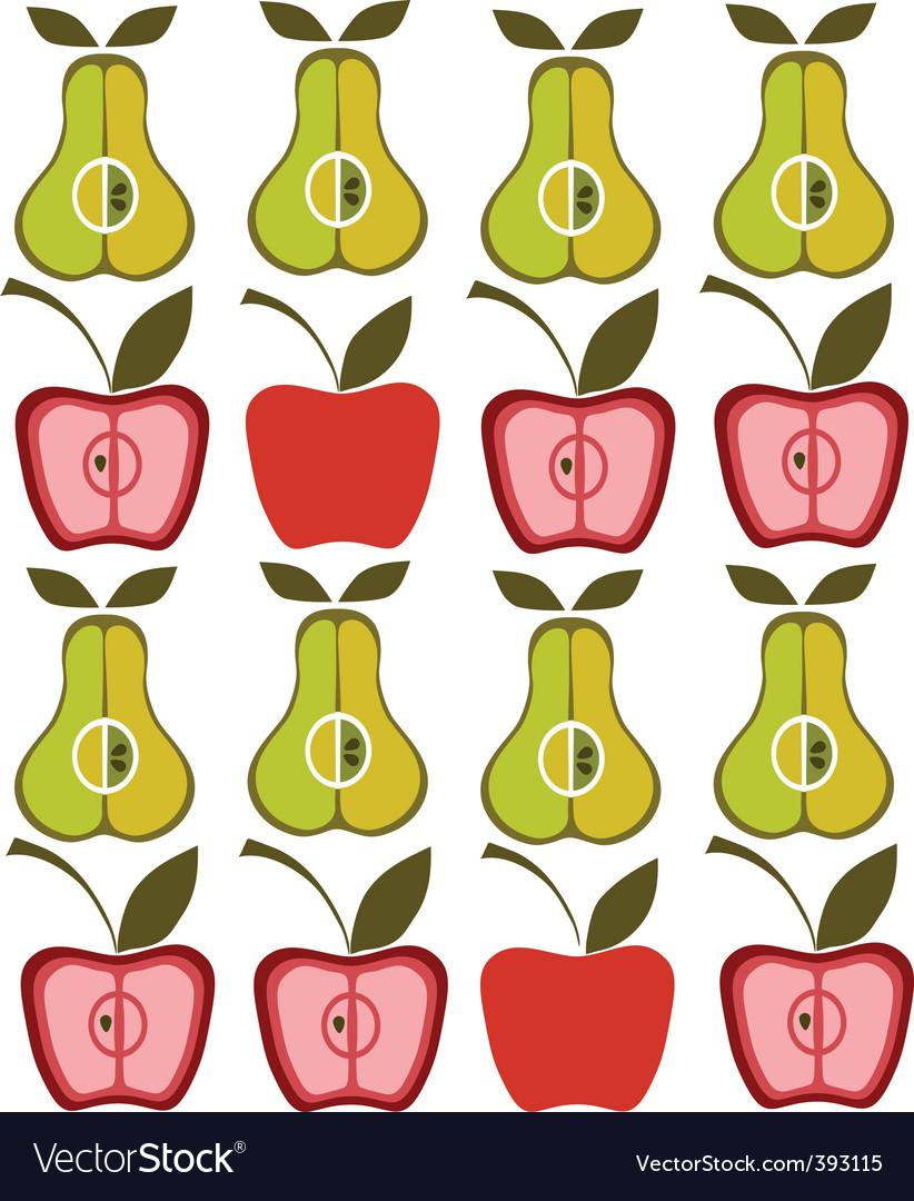 Vintage pear apple background vector image