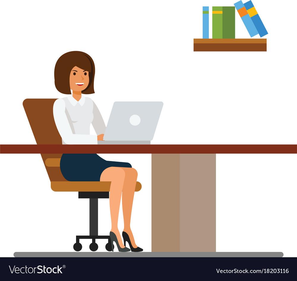 Secretary working in office at desk cartoon flat vector image