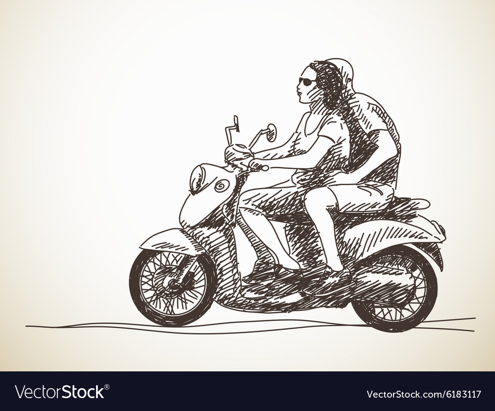 Couple riding scooter vector image