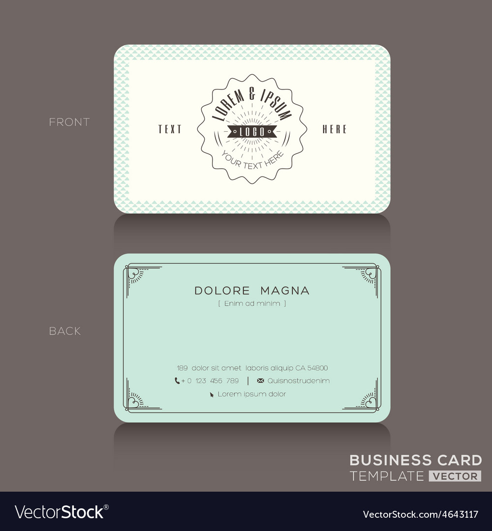Retro hipster business card Design Template Vector Image