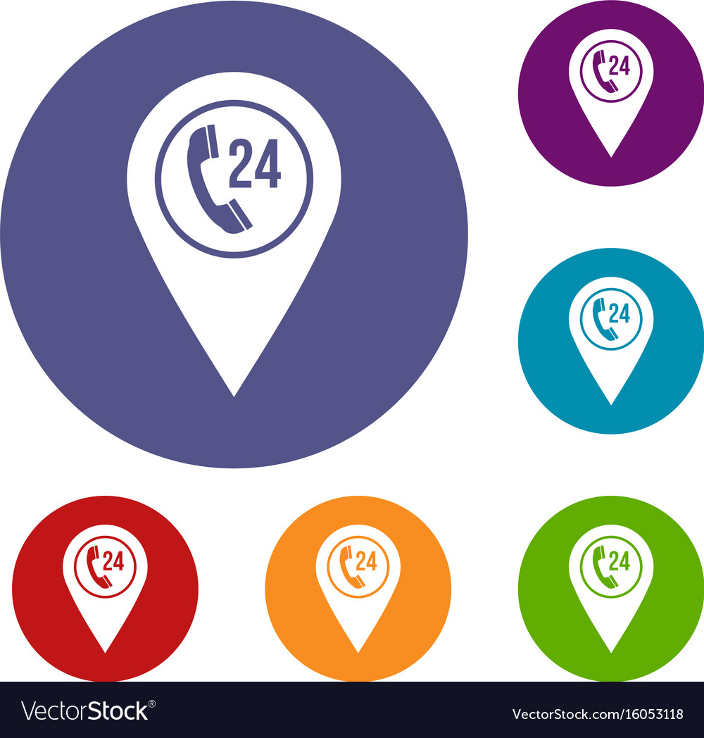 Map pointer with phone handset icons set vector image