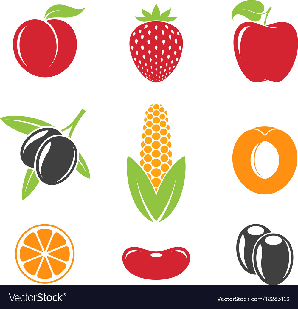 Abstract fruit and vegetables vector image