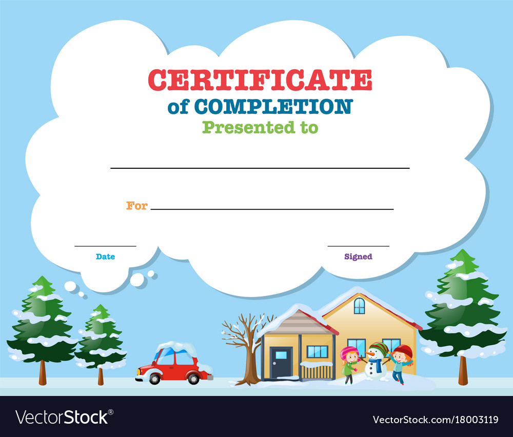 Certificate template with kids in winter vector image certificate template with kids in winter vector image xflitez Choice Image