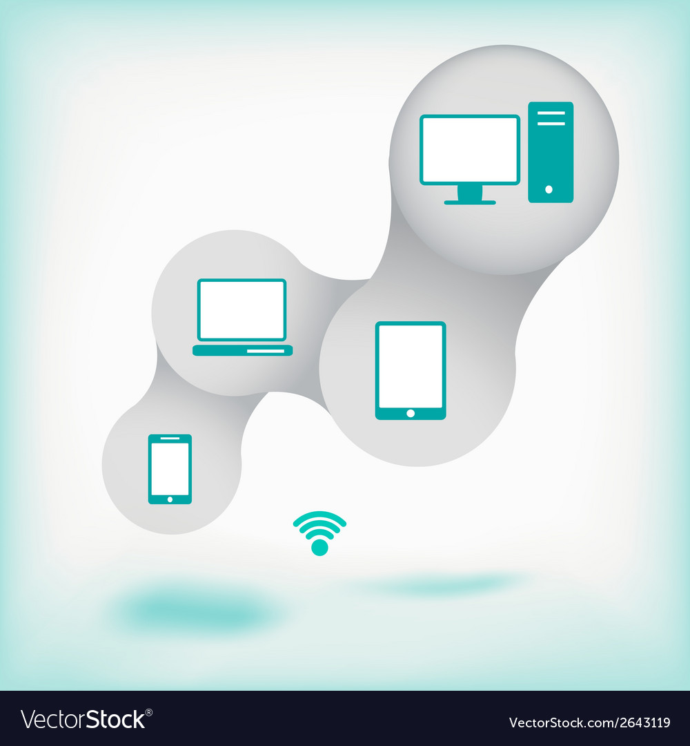 Network concept with icons and background vector image