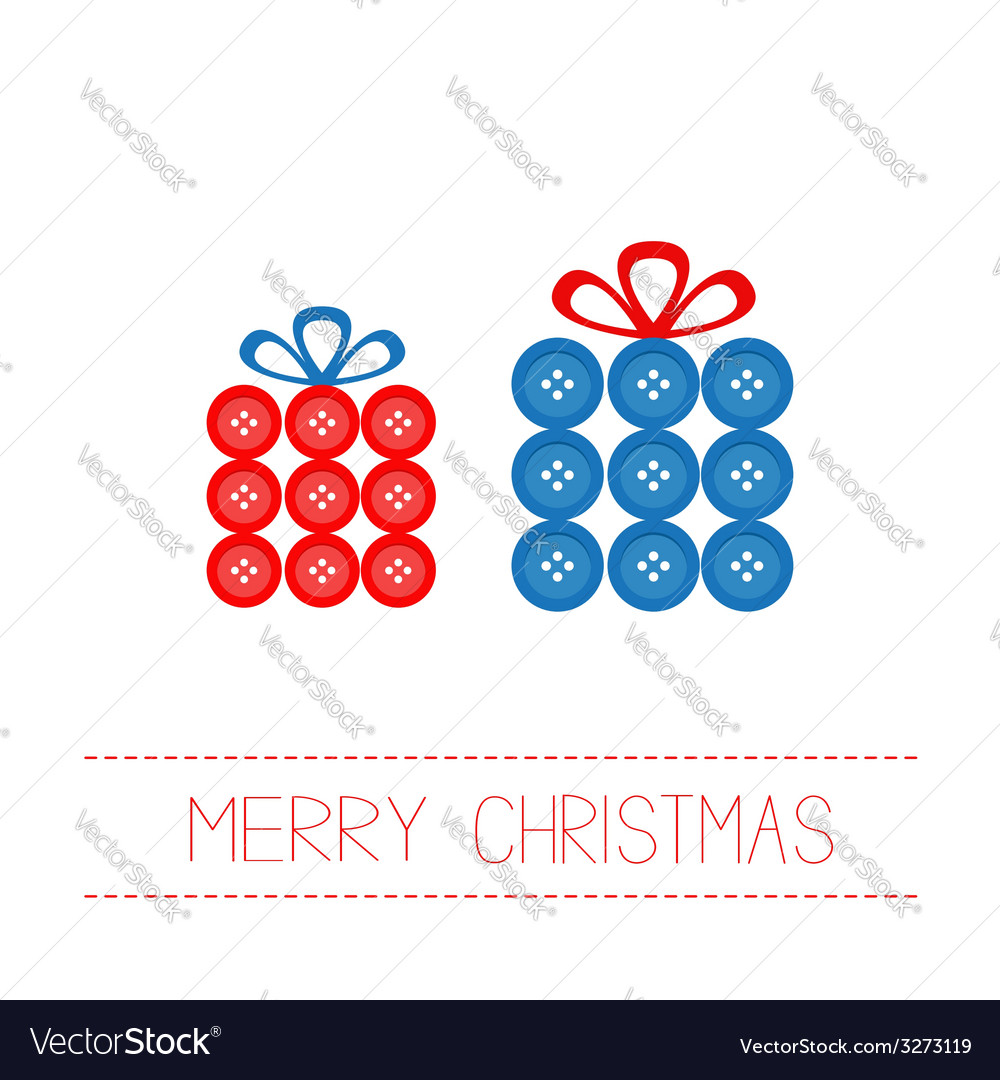 Two gift boxes made from buttons Appligue Dash vector image