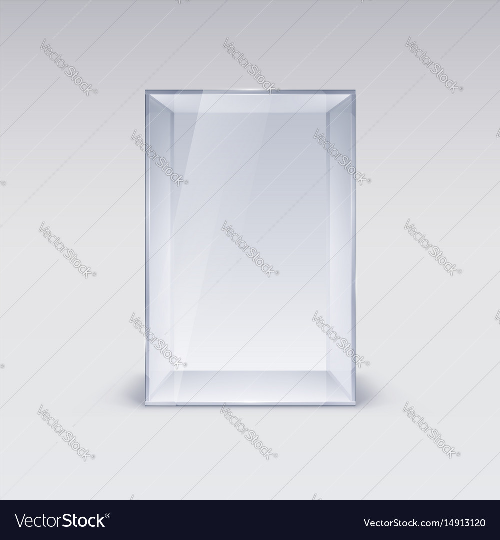 Empty glass showcase on white background vector image