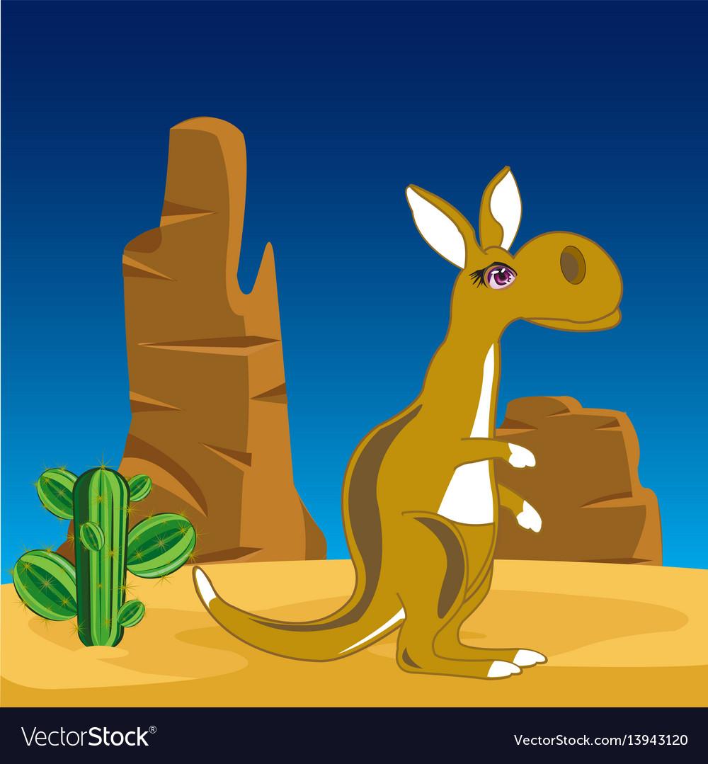 Kangaroo on nature vector image