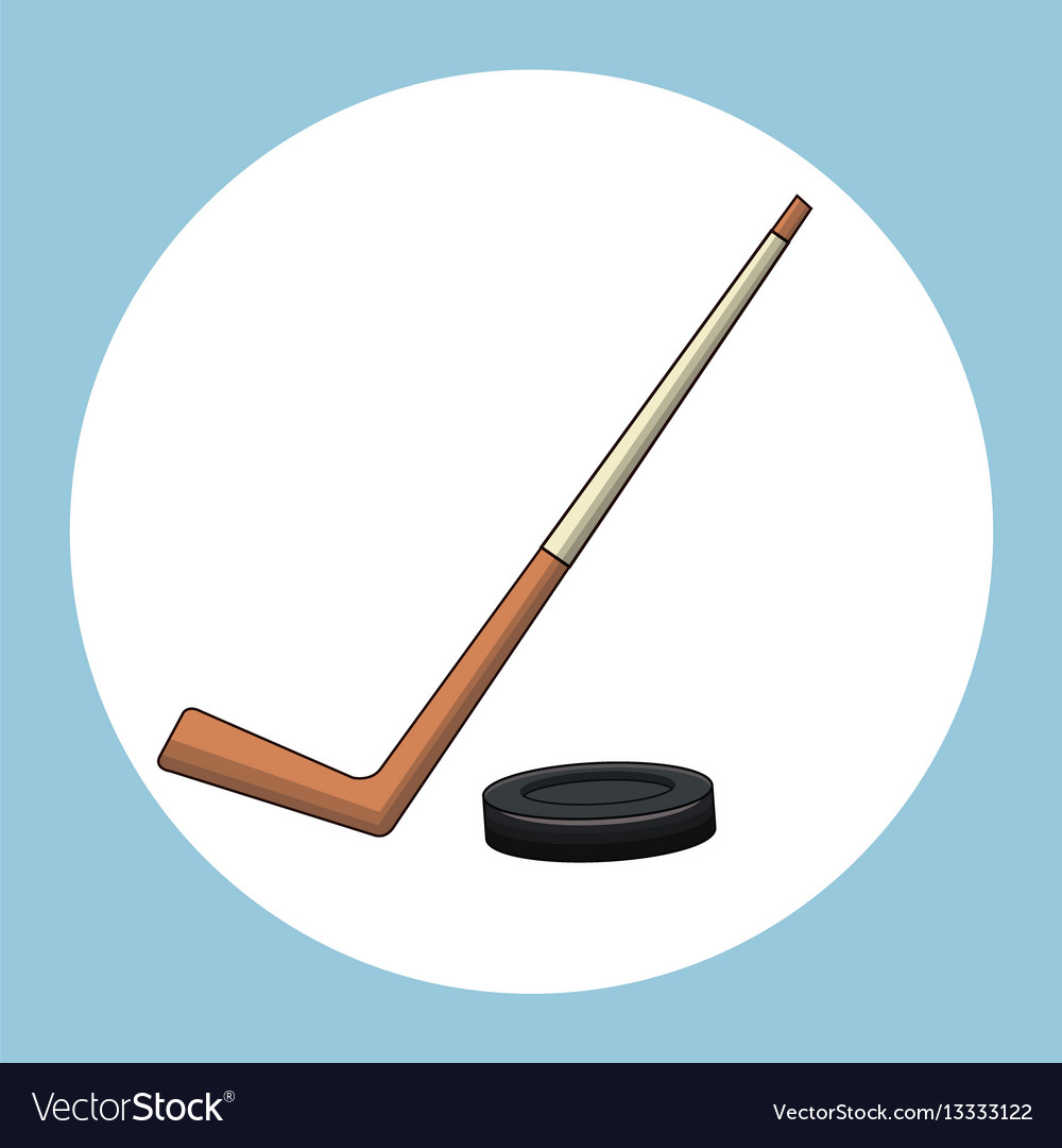 Hockey puck stick symbol vector image