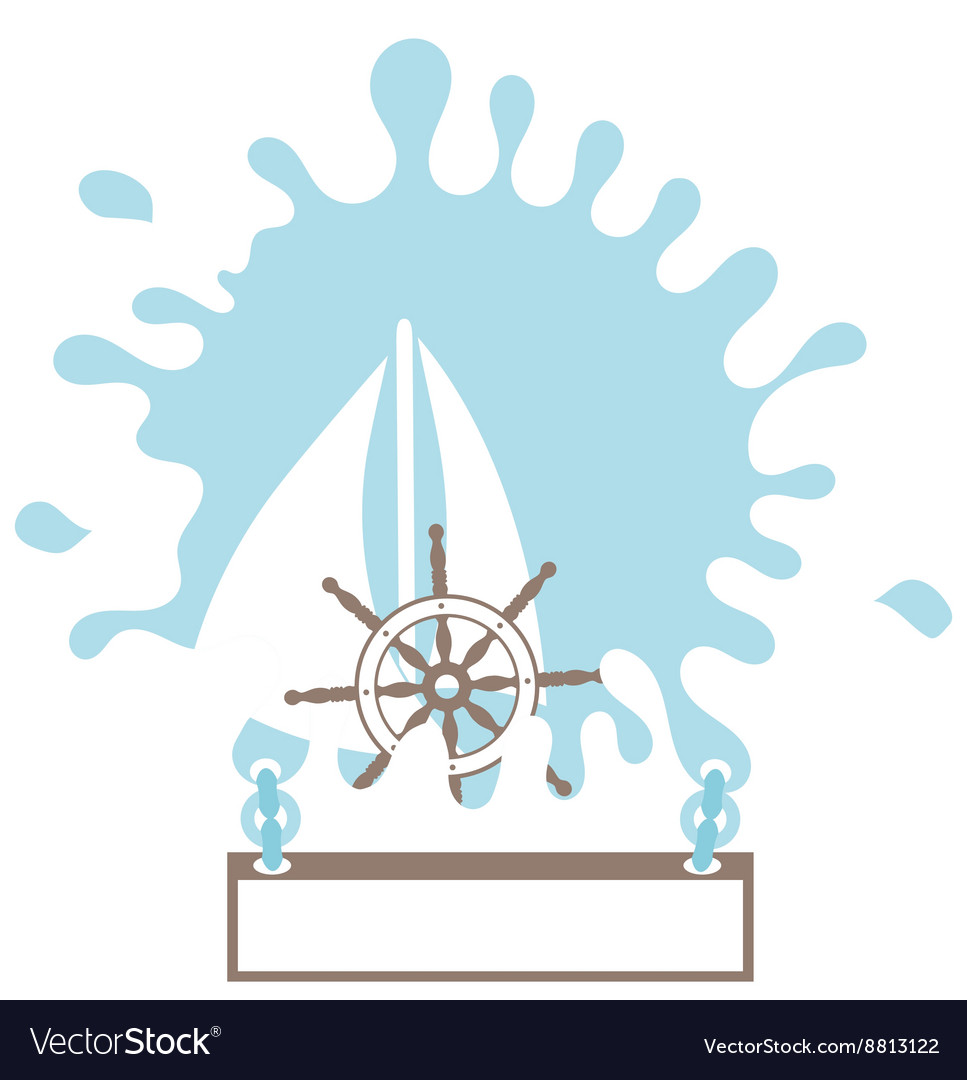 Sailboat splash rudder Silhouette Isolated Design vector image