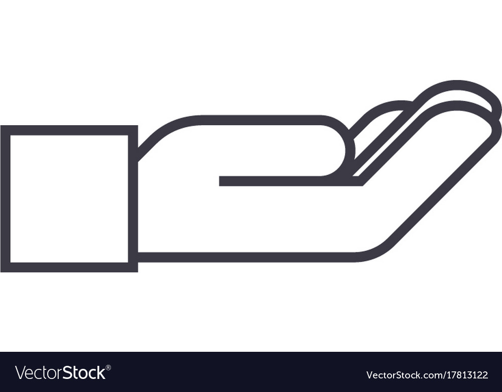 Supporting hand line icon sign vector image