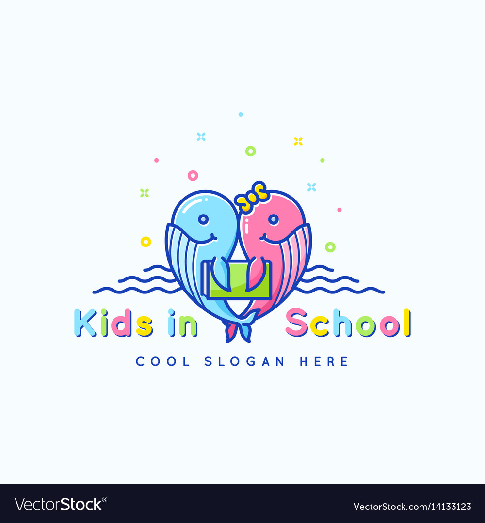 Kids school abstract sign emblem or logo vector image