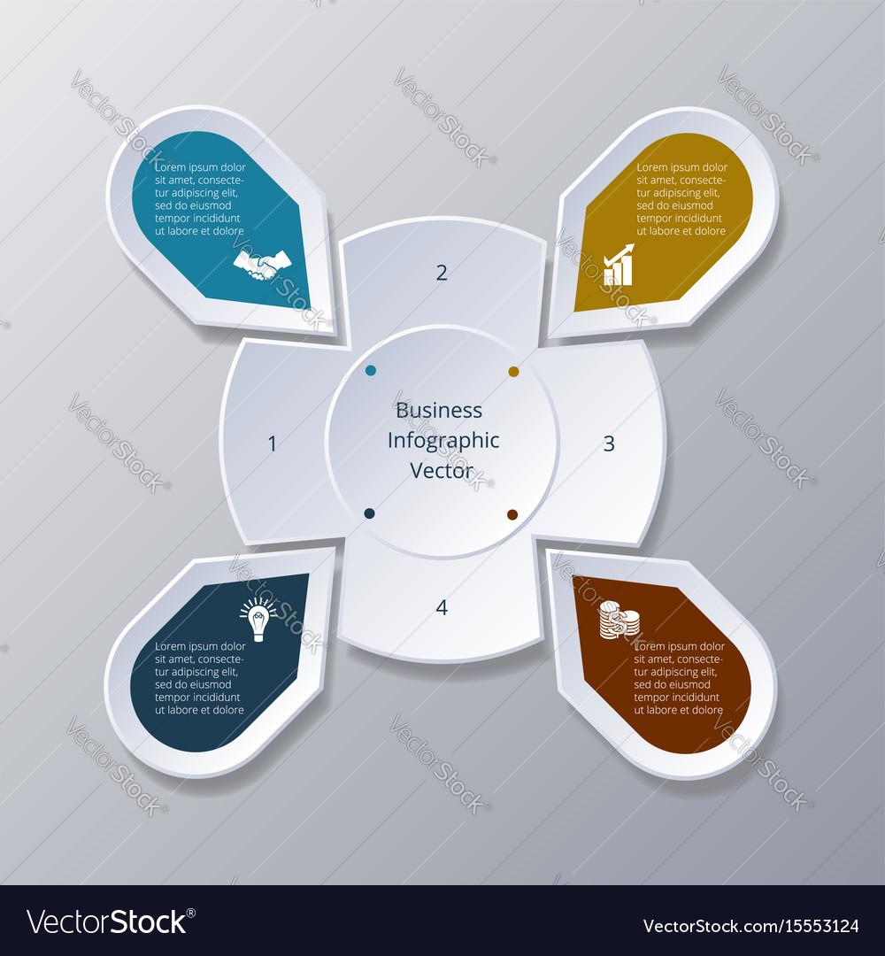 Infographic four points arranged in circle gear vector image