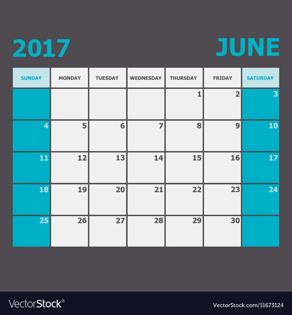 June 2017 calendar week starts on Sunday vector image