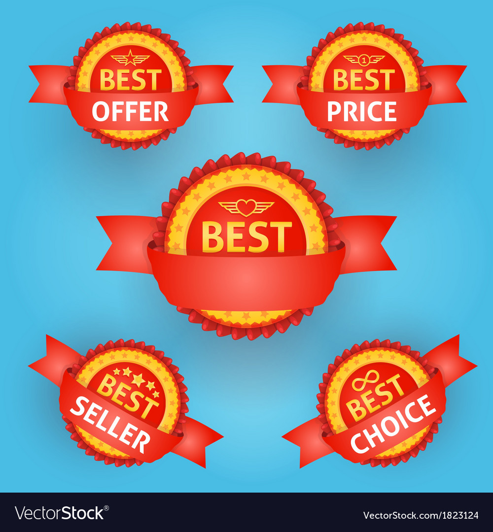 Set of red labels for any purpose vector image