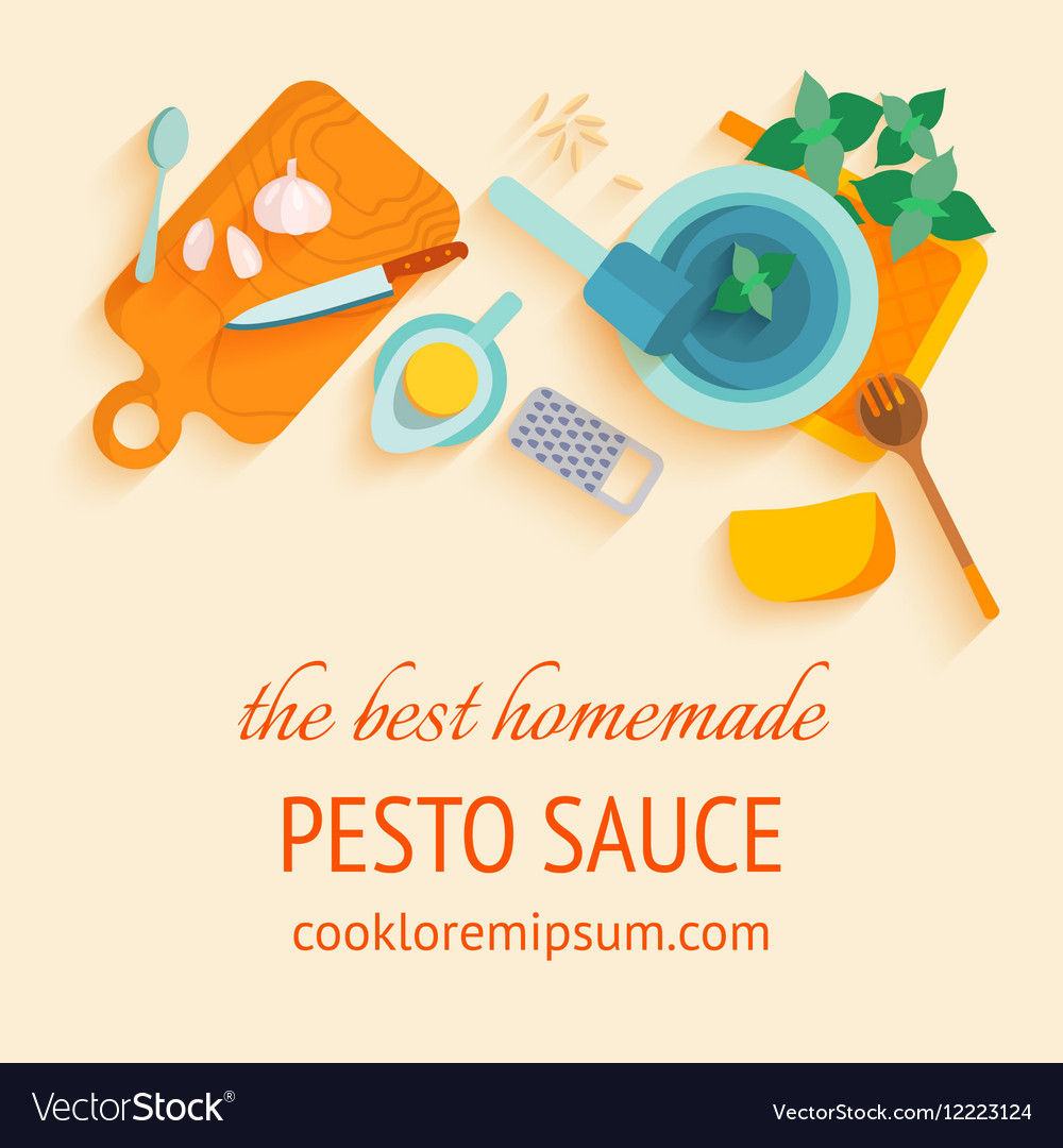 Traditional italian cuisine recipe of pesto souce vector image