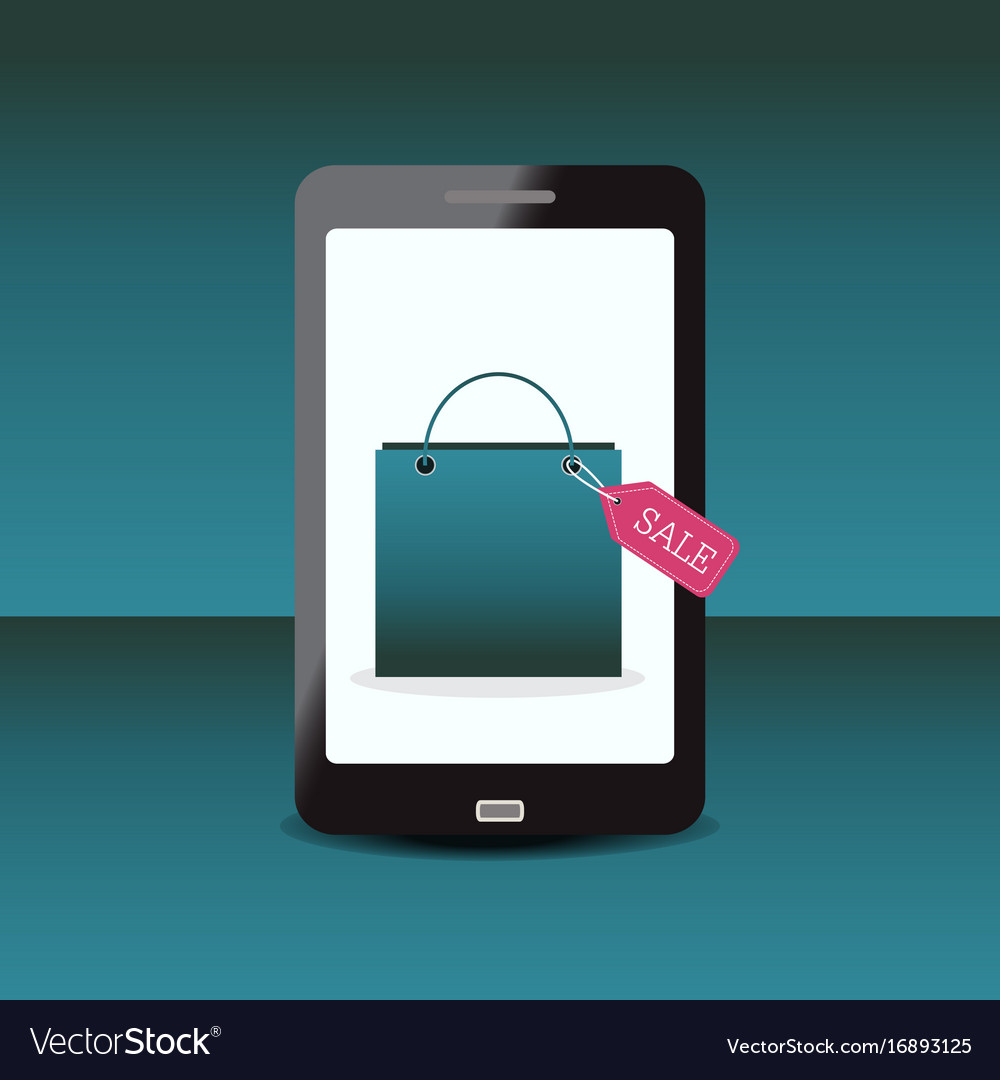 Shopping bag with sale tag on smartphone vector image