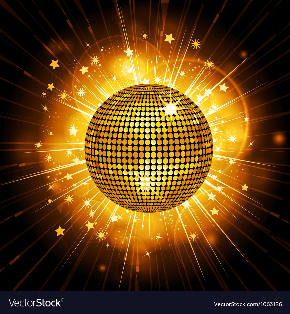 Gold disco ball starburst vector image