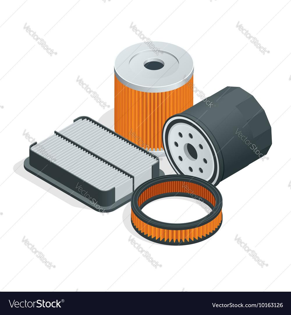 Car filters isometric set Car parts flat 3d Vector Image