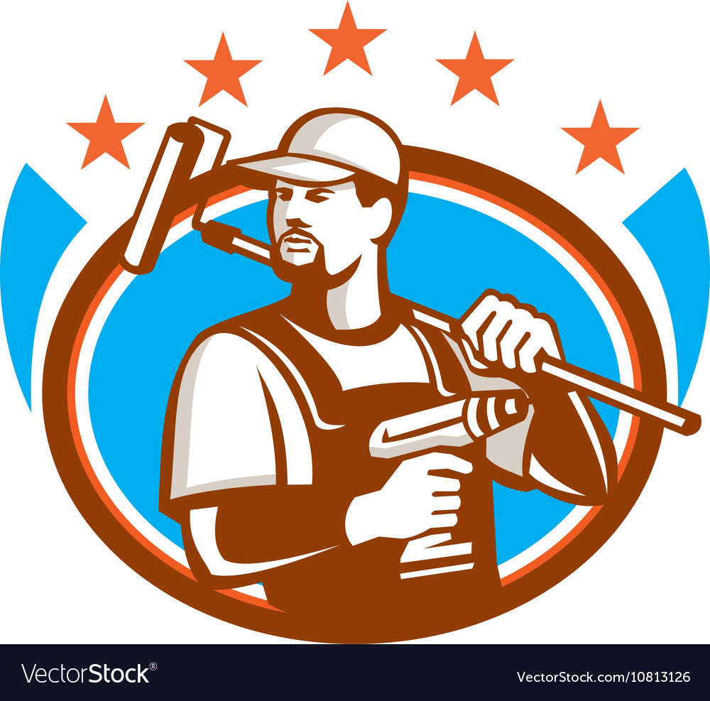 Handyman Cordless Drill Paintroller Oval Stars vector image